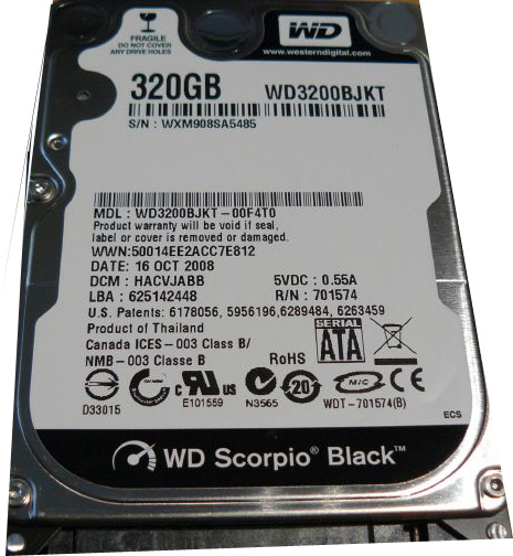 WD Scorpio Black WD3200BJKT 320GB 7200 RPM SATA 3Gb/s 2.5
