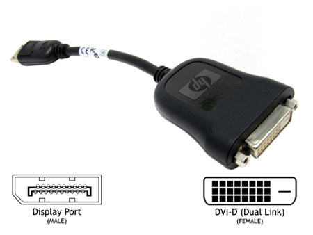 HP 484156-001 Dp To Dvi display Port Dvi Cable Adapter Dongle