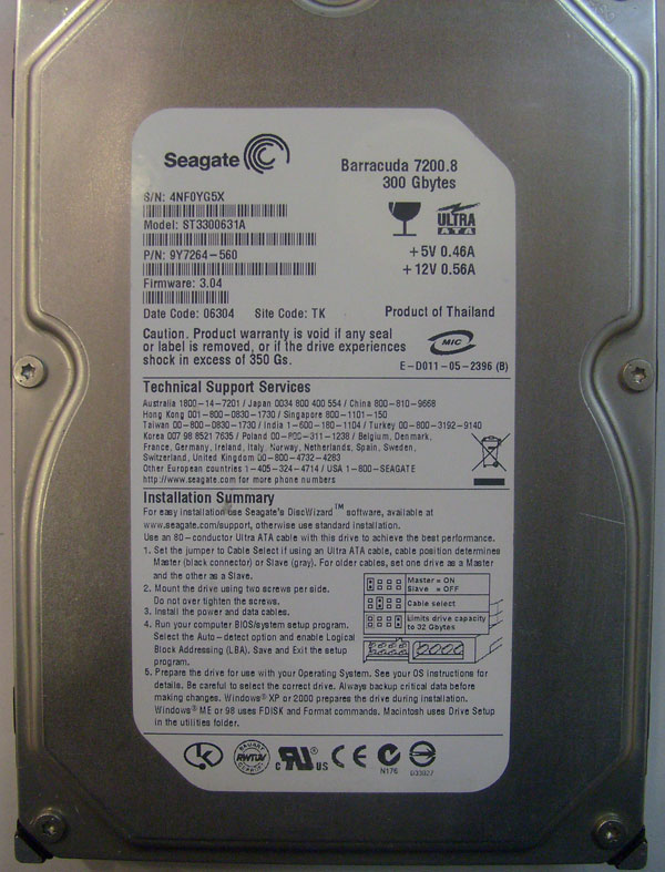 Seagate Barracuda ST3300631A 300GB 7200RPM IDE ULTRA ATA100 3.5