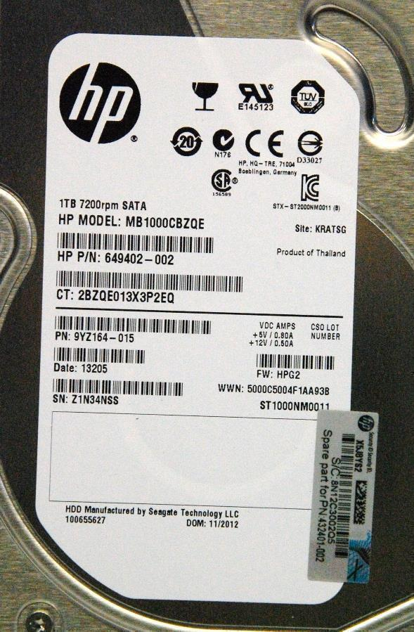 HP 649402-002 1TB 7.2K SATA 3.5 Inch Hot Swap Hard Drive
