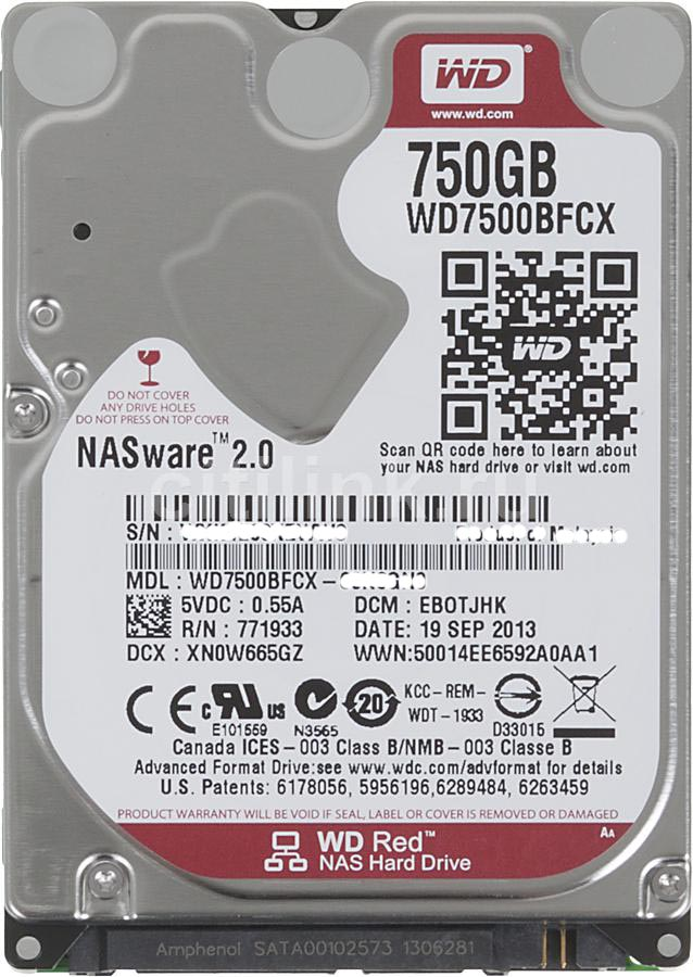 WD RED WD7500BFCX 750gb SATA 6Gb/s Intellipower 3.5