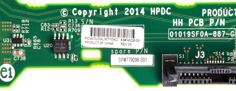 HP 779096-001 3.5 Inch Hard Drive Backplane for DL160 DL180 G9