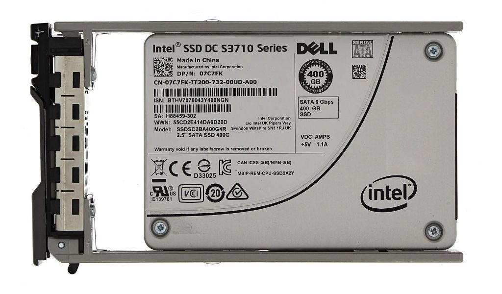 """Dell Intel SSD DC S3700 400GB 6Gbps SATA 2.5/'/' Solid State drive w// 3.5/"""" Tray"""