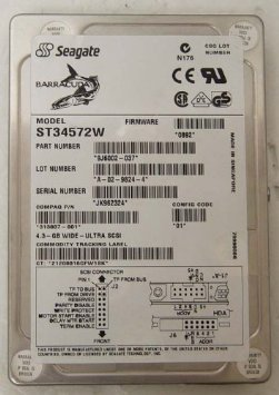 Seagate Barracuda ST34572W 4GB 7200RPM Wide Ultra SCSI 3.5