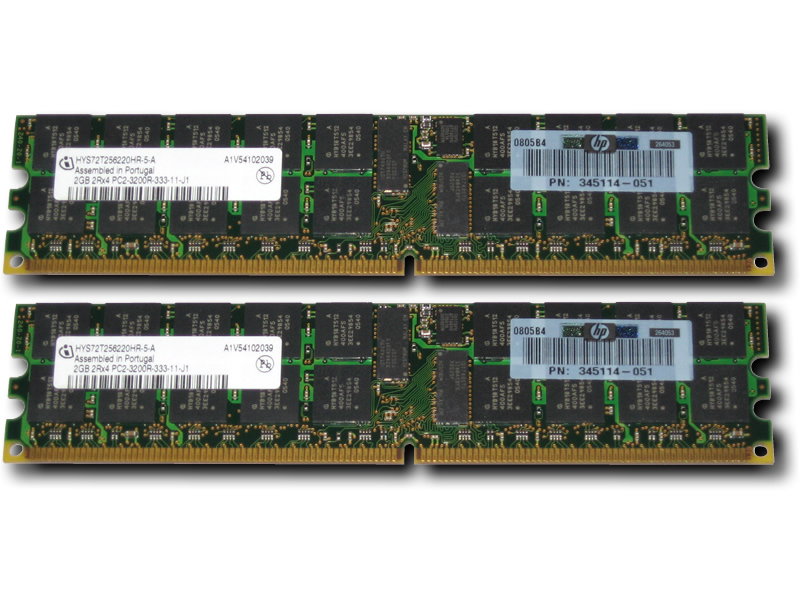 375004-B21 4GB  2x2GB PC2-3200 Memory for HP ProLiant 2RX4